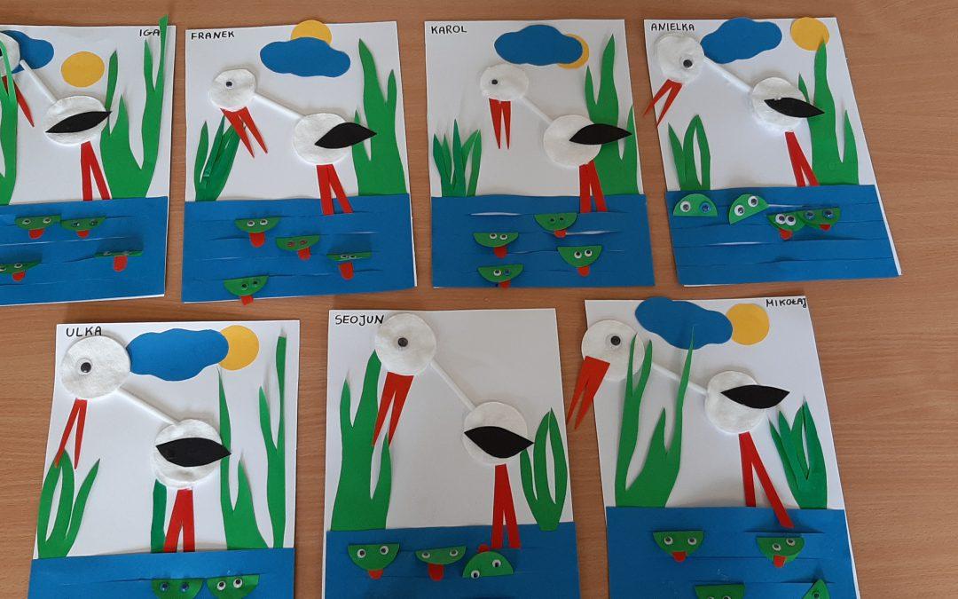 Praca plastyczna – bocian i żaby